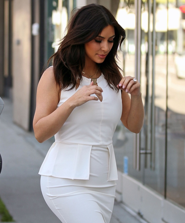 kim-kardashian-hair-cut-white-dress